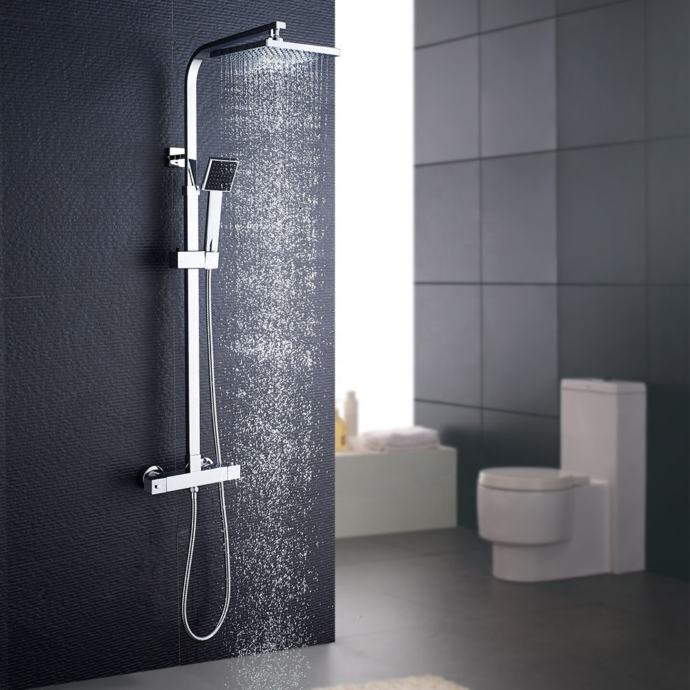 ROVATE Multi-function Wall-mounted Bathroom Shower System square thermostatic shower set