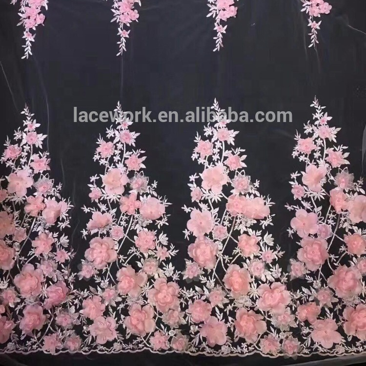 High-end Afrika 3d bordir floral beads bridal kain renda untuk gaun pengantin