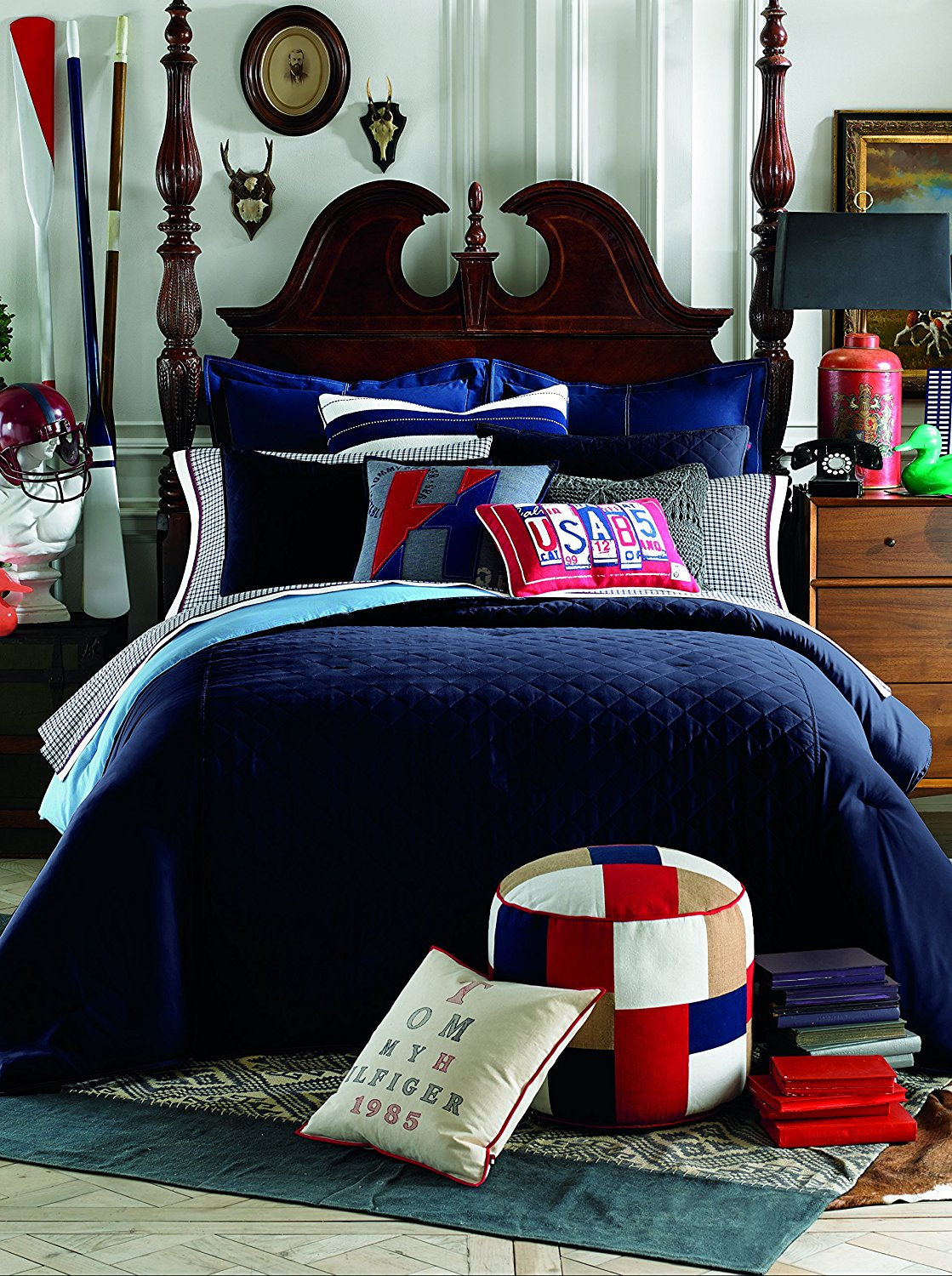 Tommy Hilfiger Prep Bedding Comforter, Midnight, Twin