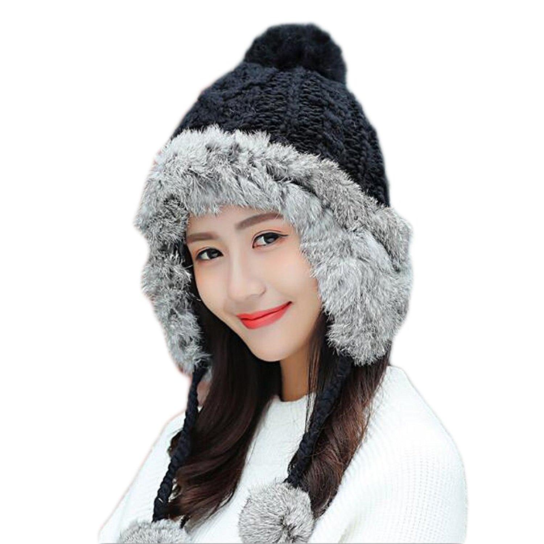 1bc6bbc811c Fashfur Winter Thick Warm Knitted Beanie Cap Rabbit Fur Hat With Pom Pom  Earflap Caps