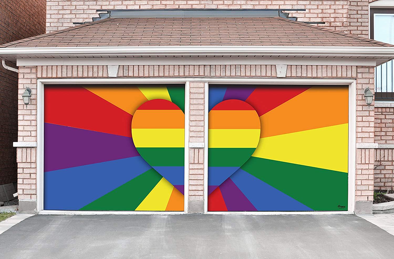 Victory Corps Heart Rays - Outdoor Pride LGBT Garage Door Banner Mural Sign Décor 7'x 8' Split Car Garage - The Original Holiday Garage Door Banner Decor