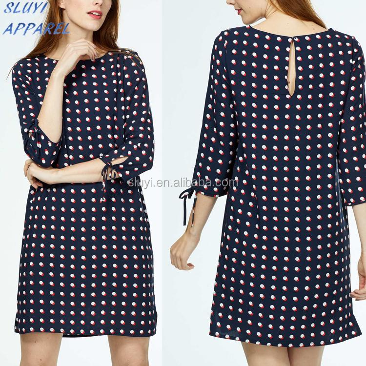 Blauw wit stippen jurk