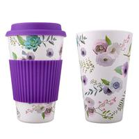 2019 Feistel Factory custom Easy Carrying Reusable Bamboo Fiber Coffee Mug Cactus Printed Cup