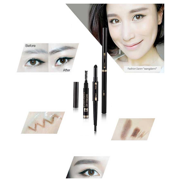 oem makeup 3D Eyebrow 3 in 1 Eyebrow Pencil + Air Cushion Eyebrow Powder + Brow Brush Makeup Cosmetic