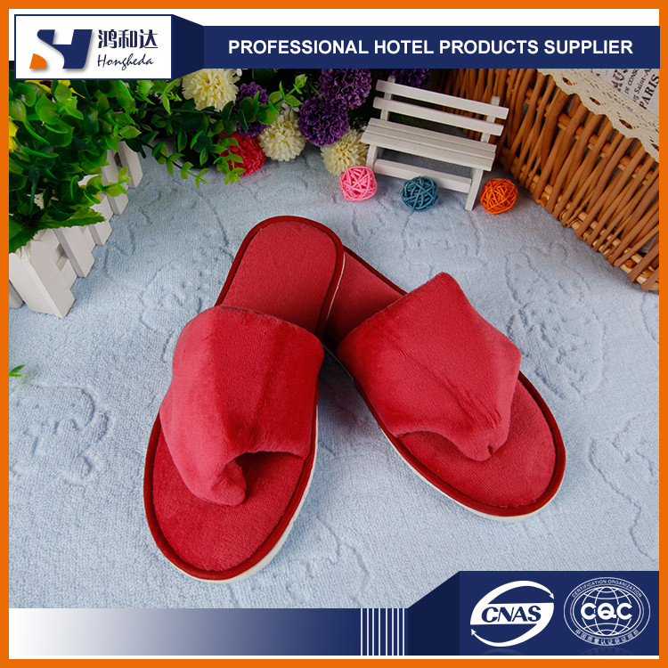 New products china supplier red velvet flip flop style hotel slipper