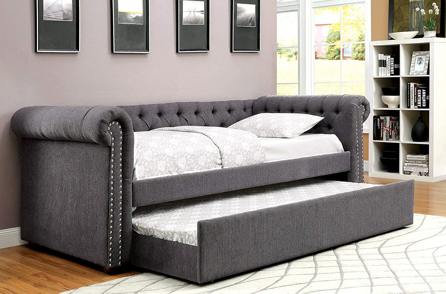 HOMES: Inside + Out IDF-1027GY-Q Hunten Daybed, Queen, Gray