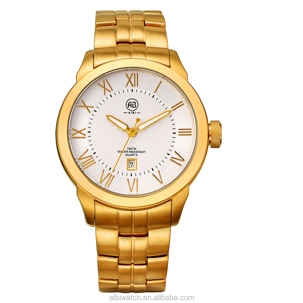 Gold Color Big Face Metal Bracelet Men Watch
