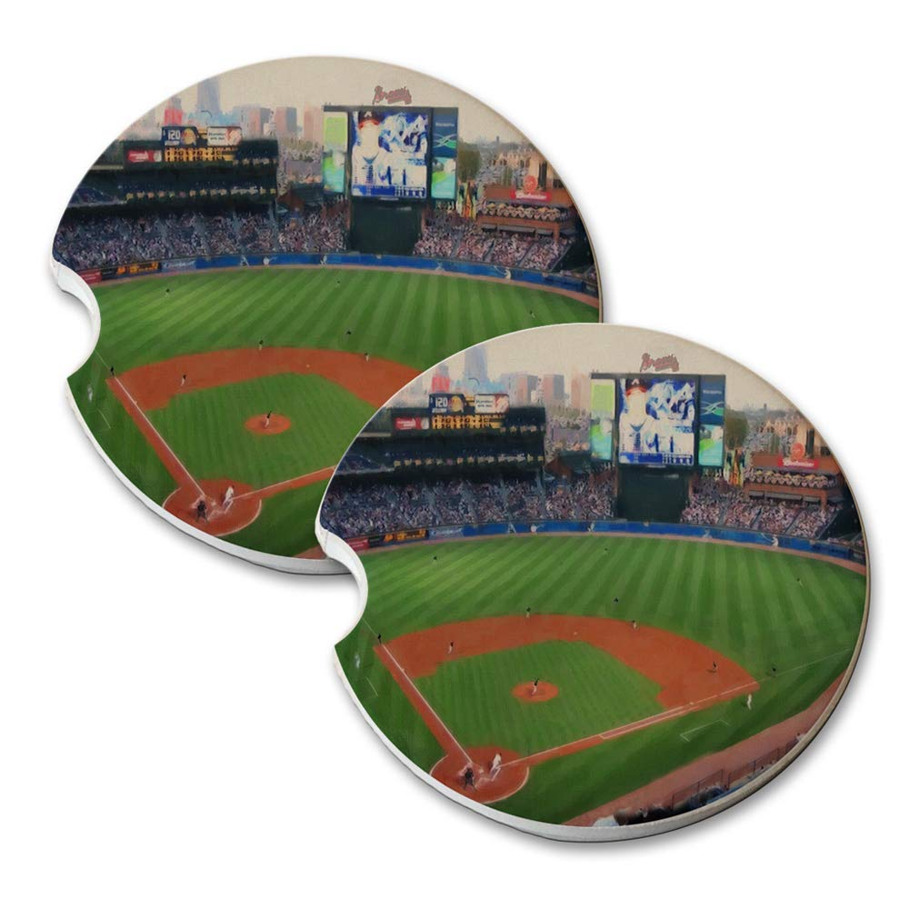 Atlanta Baseball Painting - Absorbant Sandstone Car Drink Coaster Set (Set of 2 car Coasters)
