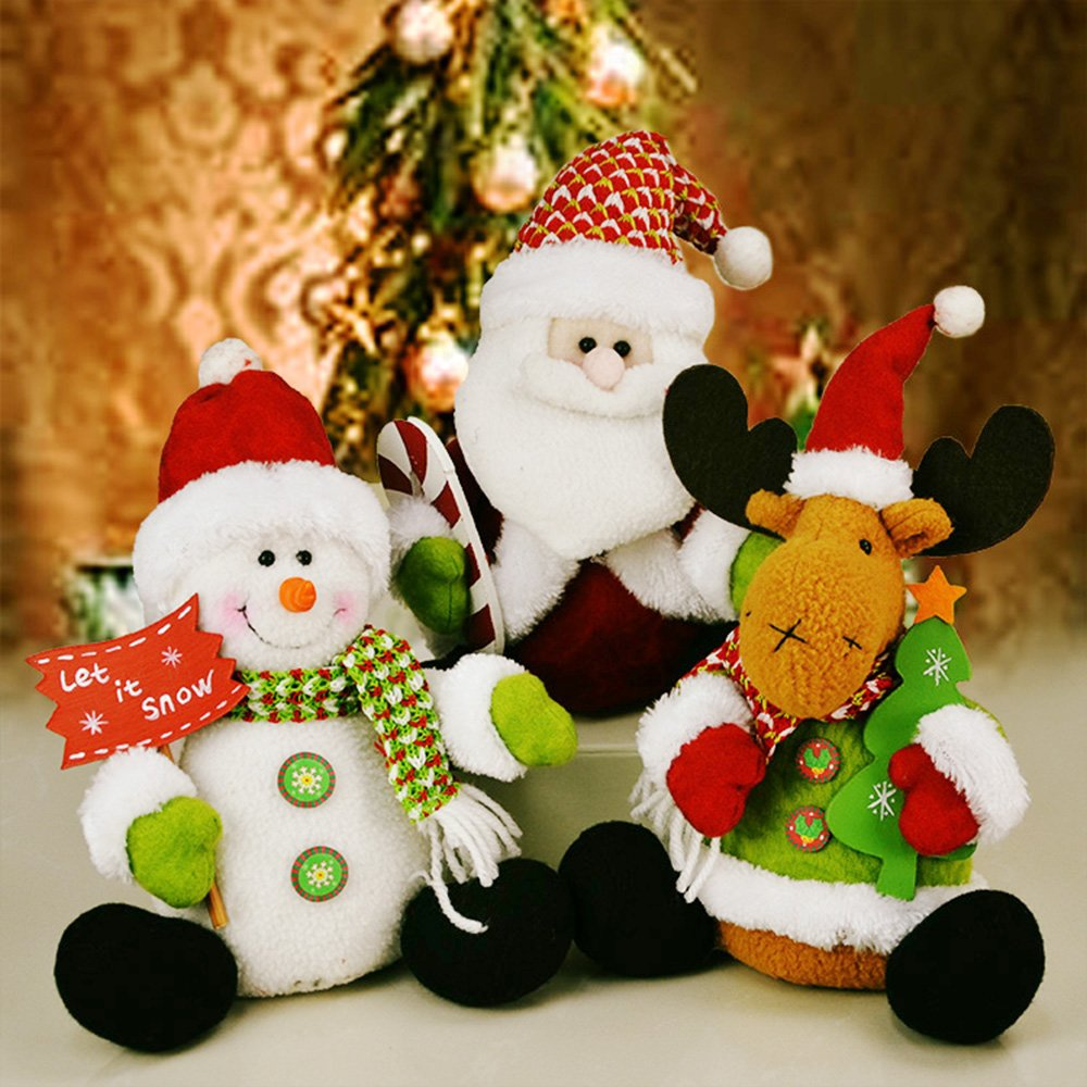 YOUDirect Christmas Plush Dolls - Set of 3 Soft Plush Stuffed Toy Animated Elk Santa Claus Snowman Figure Xmas Figurine Decorations Home Ornament Decoration Toys for Kids Birthday Christmas Gift