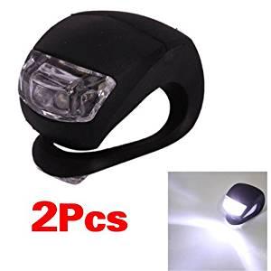 TOOGOO(R) Bicycle Waterproof Silicone Light Flashing Light Lamp Head Rear Light Flashlight with Double LED (2-led) (Black Silicone, White LED)