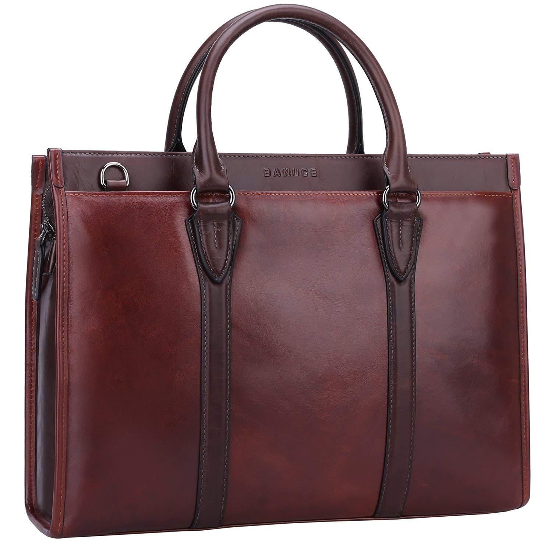 c1c851bff7de Get Quotations · Banuce Vintage Full Grain Leather Briefcase for Men 2way  Business Tote Laptop Shoulder Messenger Bag Attache