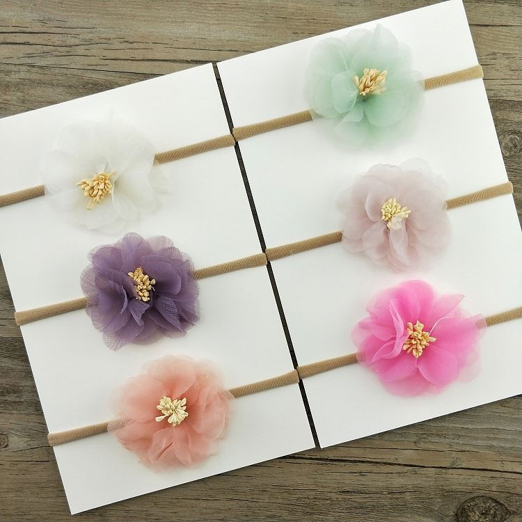 Factory supply girls elastic flower headband children hair accessories