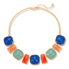 2017 Rolo Chain Multi Color Resin Short Fashion Necklace