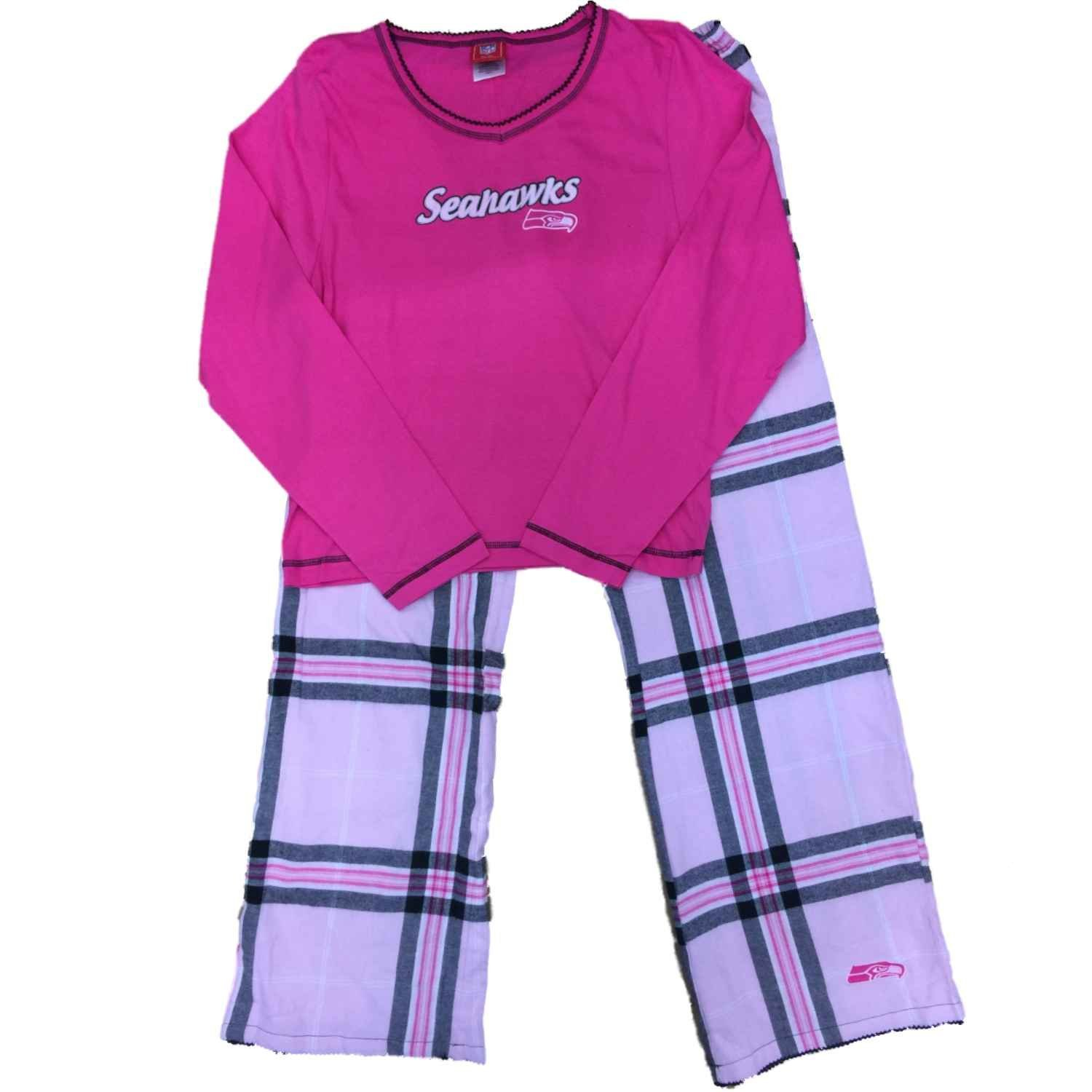 50b4e66a1f Get Quotations · Seahawks Womens Seattle Plaid Pajamas Flannel Pajamas  Sleep Set