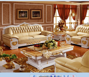 Factory Offer Living Room Furniture European Wooden With Leather Sofa Set Coffee Table W306s