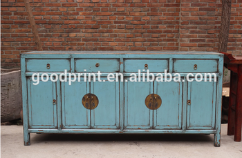 Chinese Antique Furniture Painted Console In Blue Chinese Style Cupboard  Console Sideboard