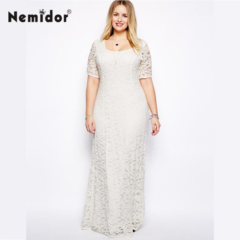 Nemidor Women Elegant Casual Lace Dress Plus Size Black White Clothing XXL 3XL 4XL 5XL 6XL