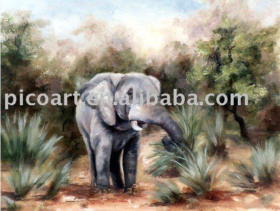 hand painted canvas animal arts elephant oil painting