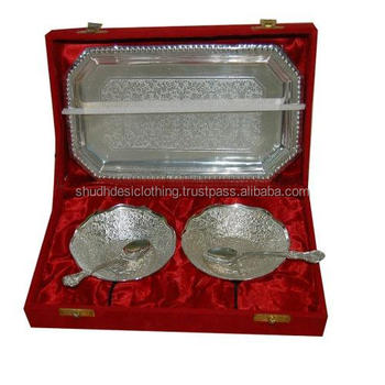 Indian Wedding Gifts For Guests Decorative Brass Bowl Silver Plated