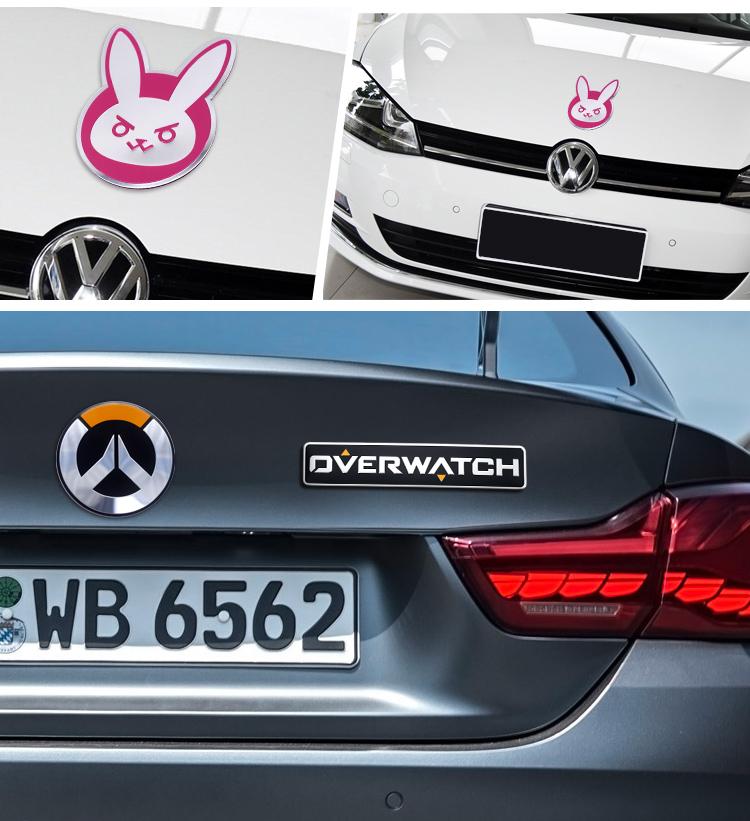 Powerangel overwatch genji d va waterproof metal car metal decals stickers for cars
