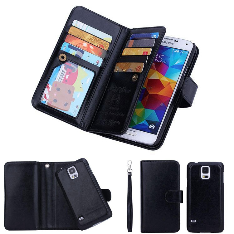 2 in 1 Luxury 9 Card Sot Leather Wallet Case Flip Cover+Cash Slot+Photo Frame+Removable Case Cover For Samsung Galaxy S5 i9600