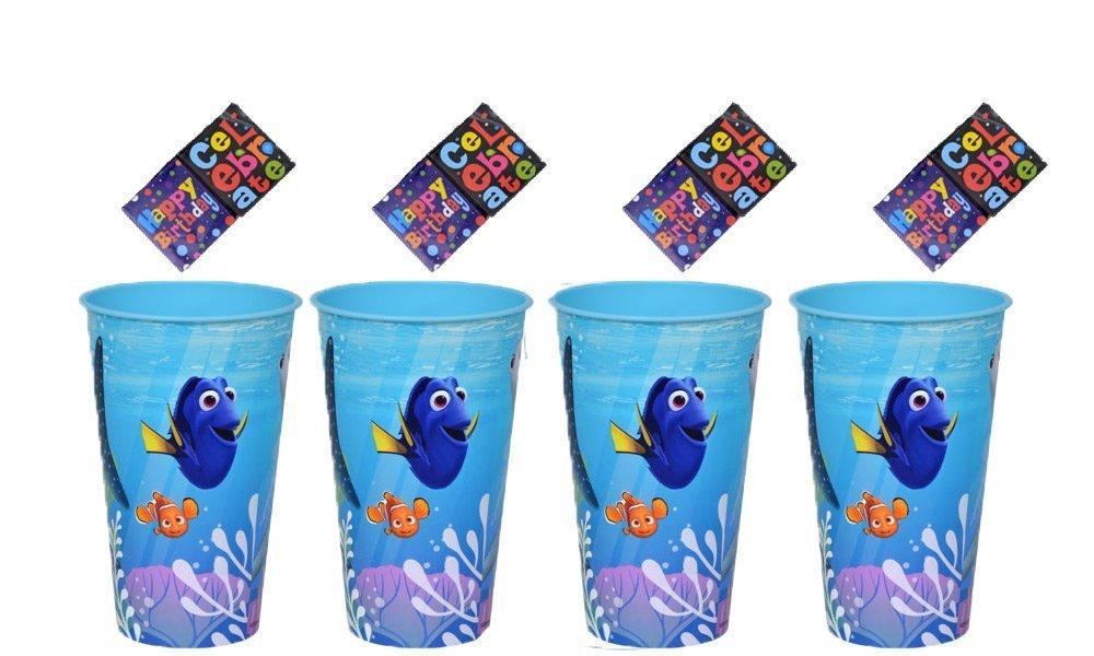Disney Finding Dory Plastic Reusable 18oz Party Favor Cups (4-Pack) + Bonus Birthday Favor Stickers