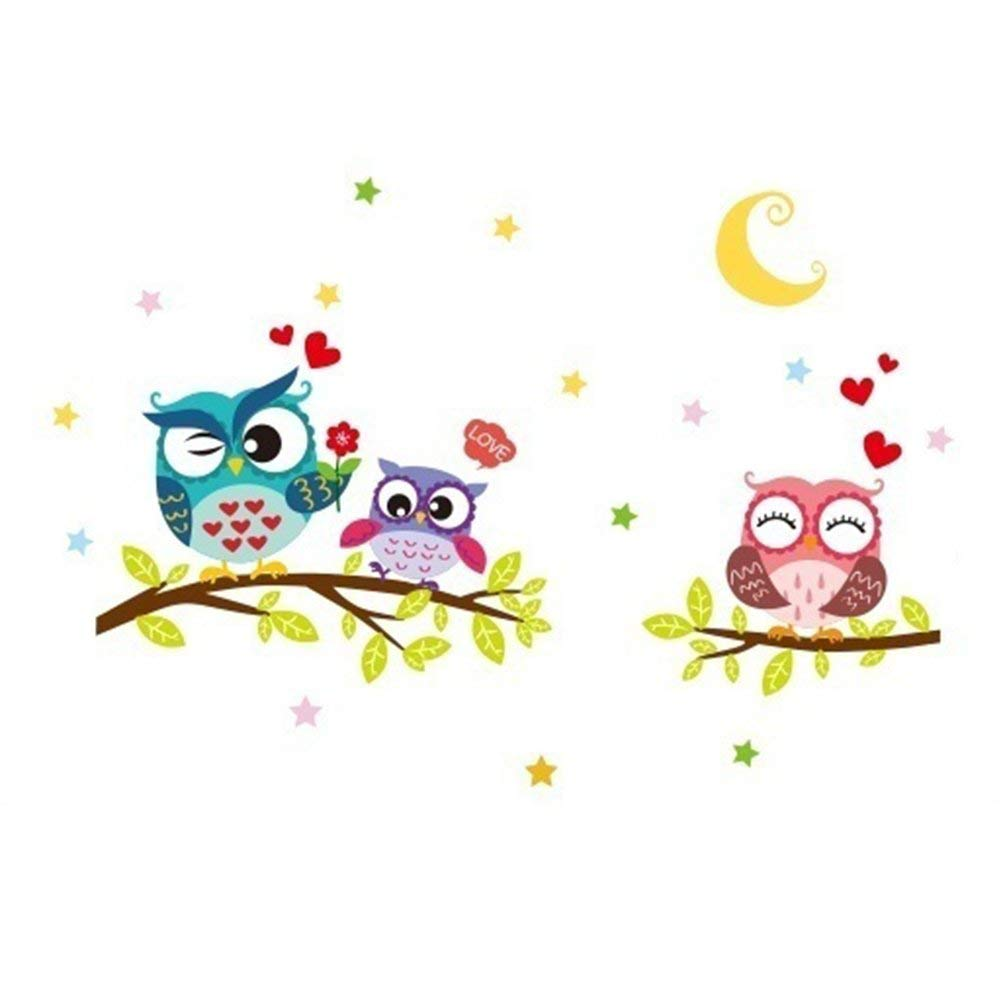 Afco Cartoon Animal Owl Wall Sticker for Kids Room Decor Decals Removable Size 45cm x 60cm