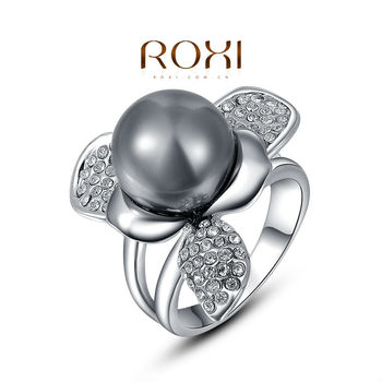 2015 ROXI Platinum Gray Pearl Promise Ring Black charming statement ring engagement ring jewelry