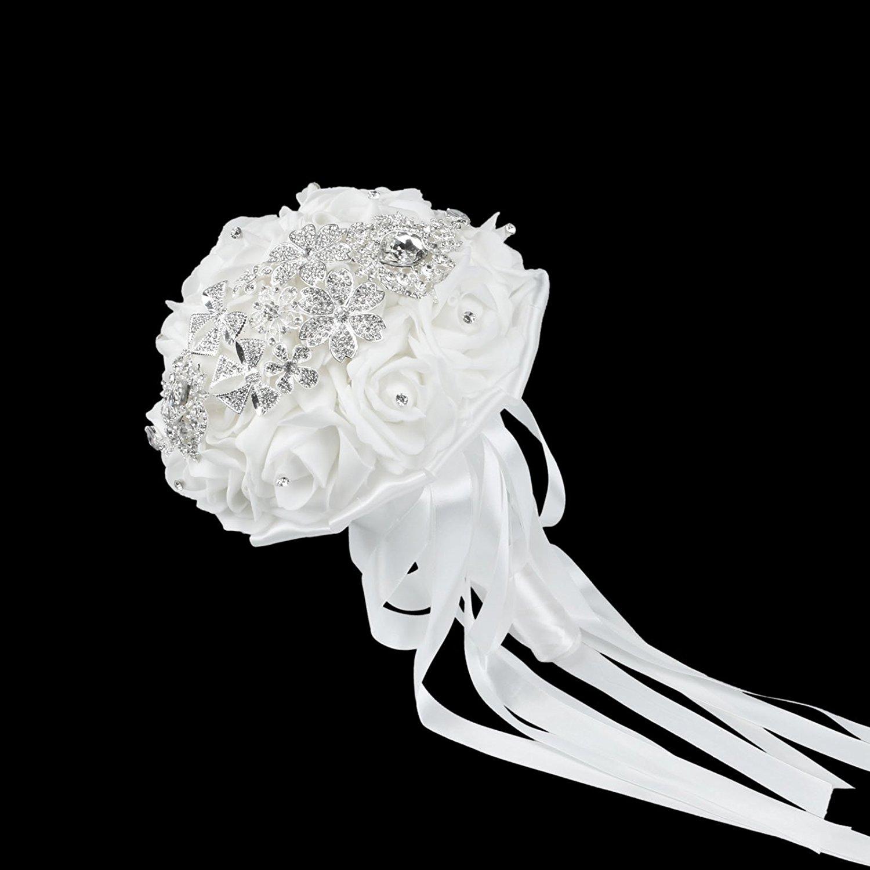 Buy vlovelife luxurious white wedding bridal bouquet advanced bridal vlovelife luxurious white wedding bridal bouquet advanced bridal bridesmaid bouquets artificial rose flower posy with rhinestone izmirmasajfo