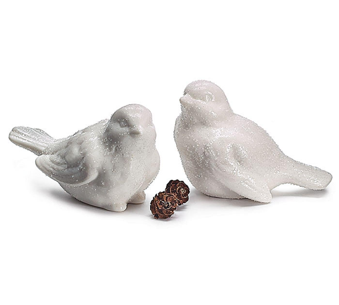 Christmas Holiday Decor Sculpted Porcelain White Bird Figurines Set Of 2 Boxed