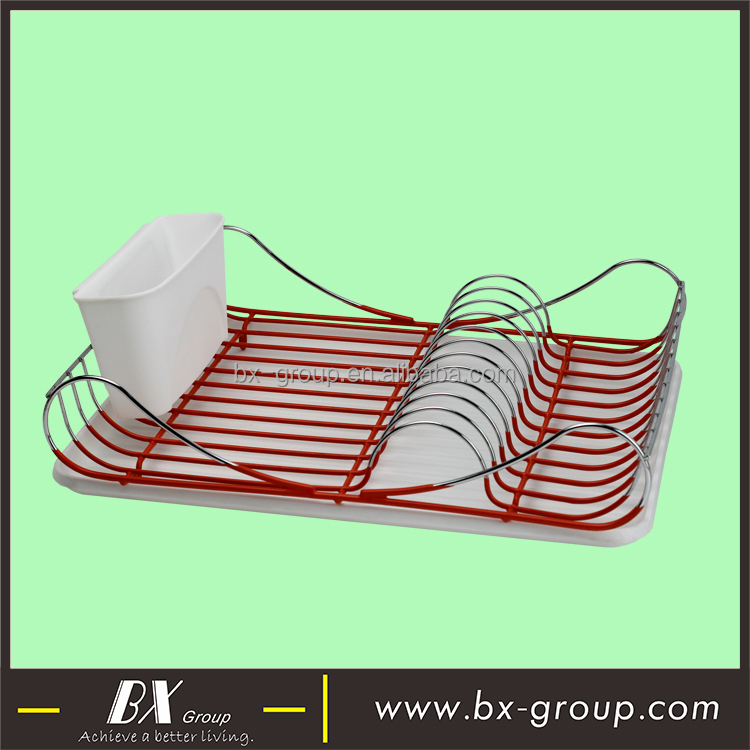 BX Group 2018 new design chrome plating metal wire kitchen dish rack with PP draining tray