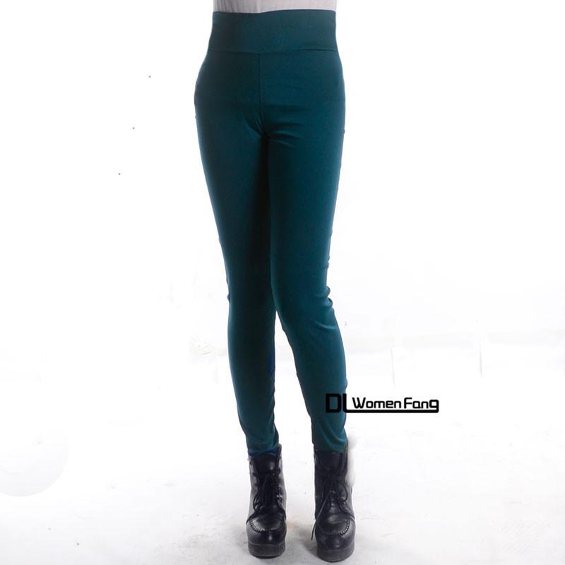 Завышенная талия женщины брюки-карандаш приталенный прорезиненная тесьма женщины брюки калько Feminina простирание леггинсы P52