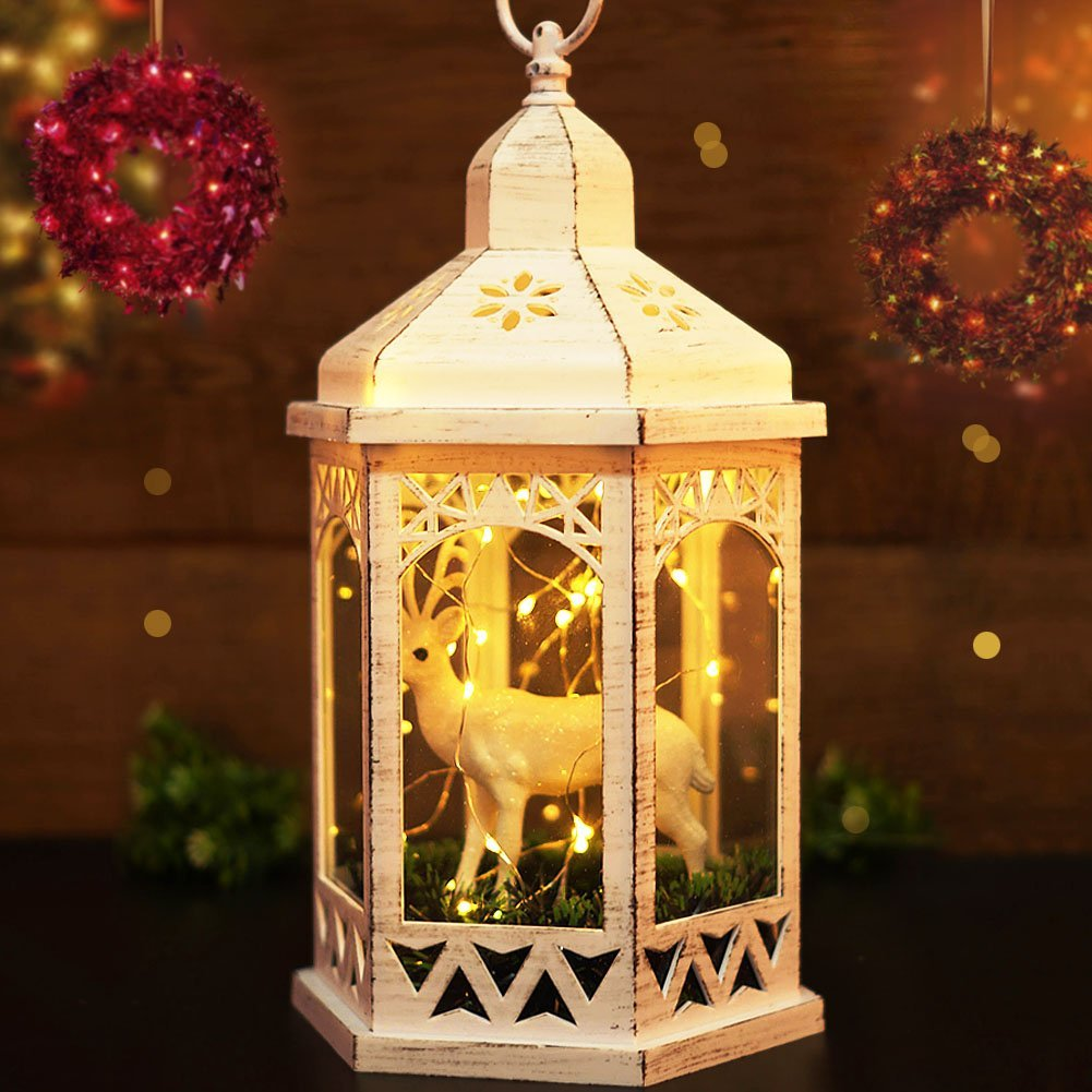 Bright Zeal 14 Tall Vintage Hexagon Christmas Lanterns With Cute Reindeer Bear 30 Led