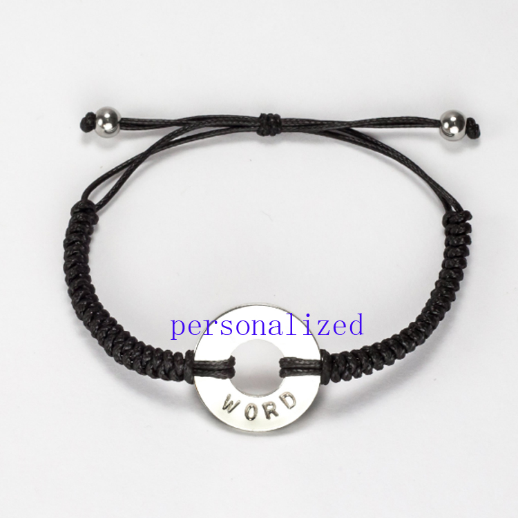 Custom Washer Bracelet Word Intention Motto Your Personalized Round Woven My