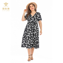 black v neck short sleeve xxl size women casual block print dress plus size dresses with sleeves
