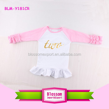 2nd Birthday Girl Raglan Shirts Kids Monogrammed 3 4 Sleeve Baseball T Shirt Two Years Old Baby Icing Ruffle