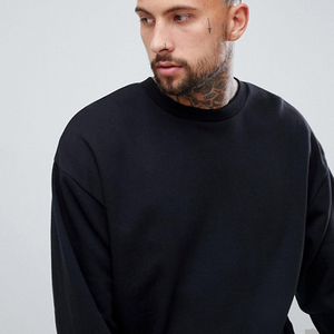 Customized Men's Long Dropped Shoulder Crewneck Oversized blacker Sweatshirt