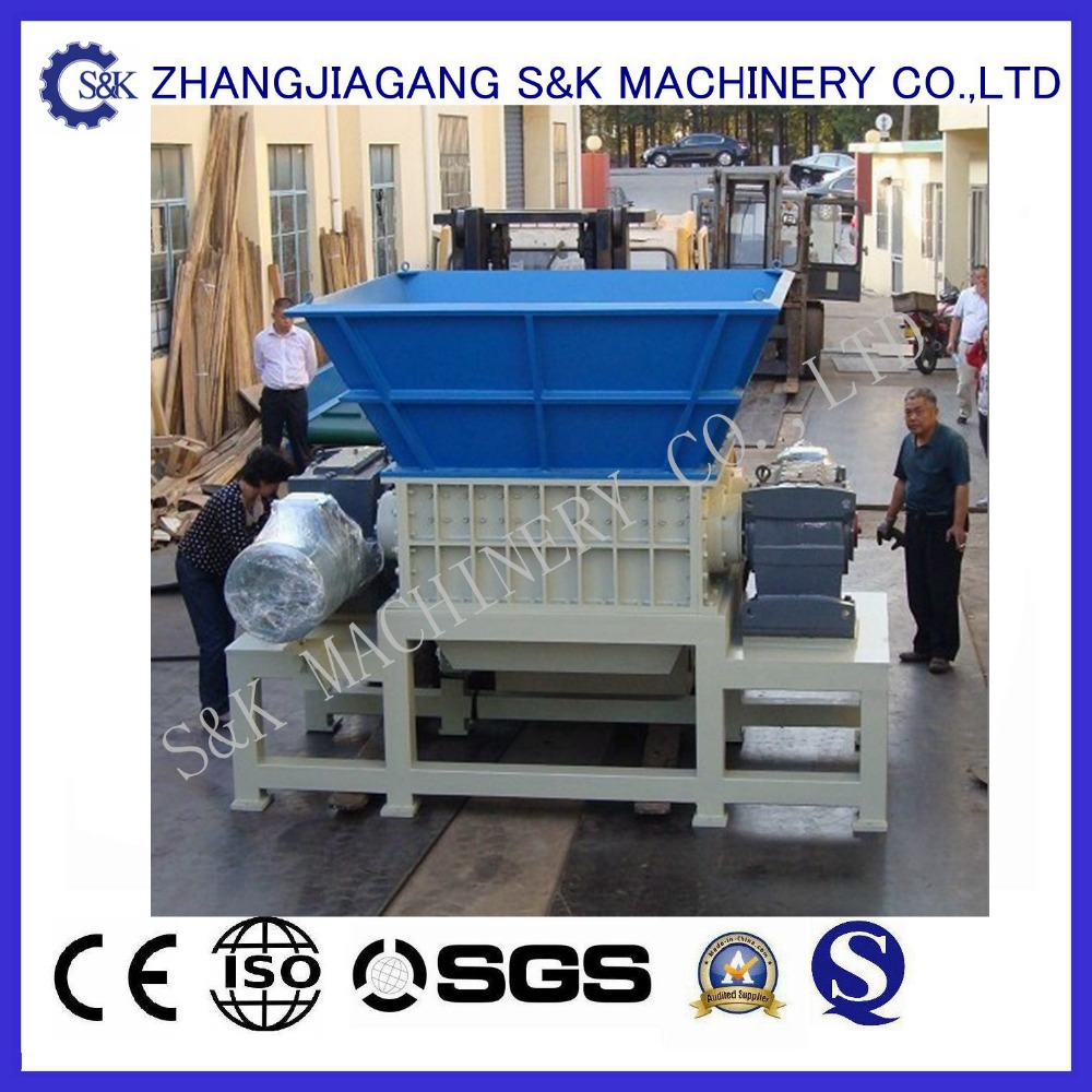 double shaft shredder blade and PS plastic recycling machine for ldpe agricultural film scrap