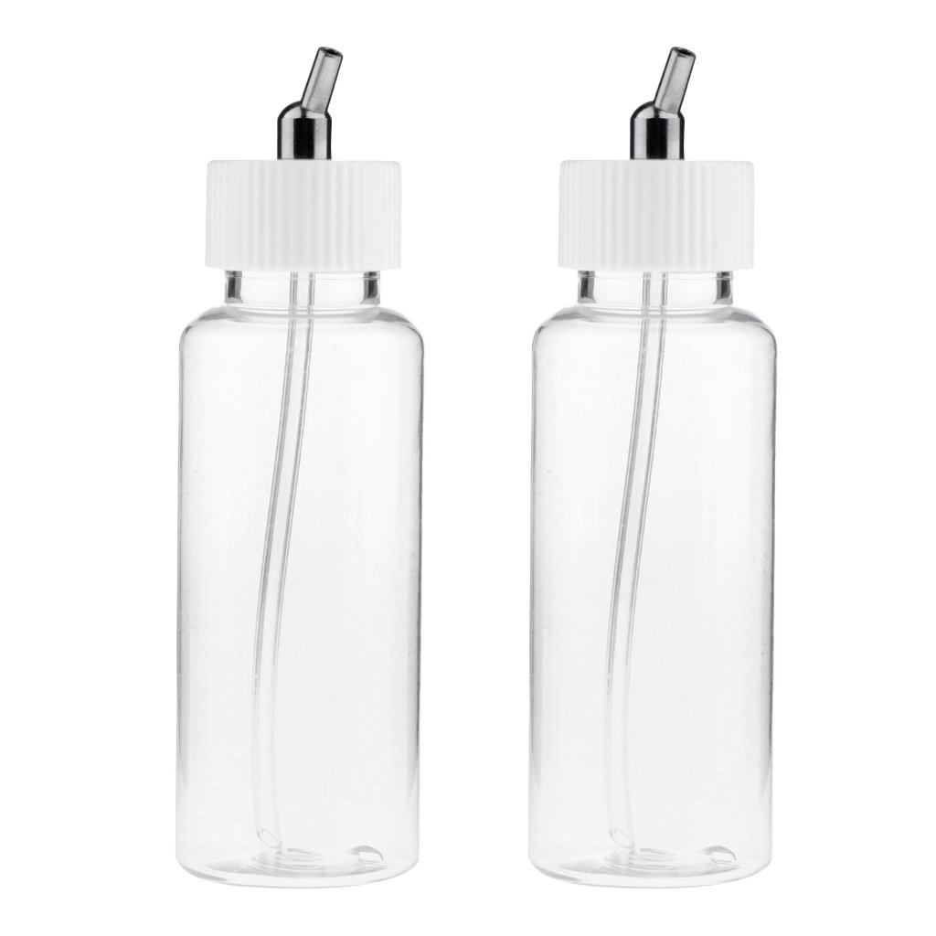 10 Airbrush 2.7oz Glass Jar Bottles 60° Angle Adaptor Lid Assembly Single-Action