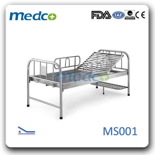 304 stainless steel hospital bed with adjustable backrest MS001