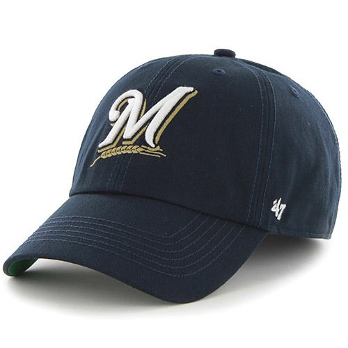 7d27ae1eb99 Get Quotations · MLB Milwaukee Brewers  47 Brand Navy Basic Logo Clean Up  Home Adjustable Hat
