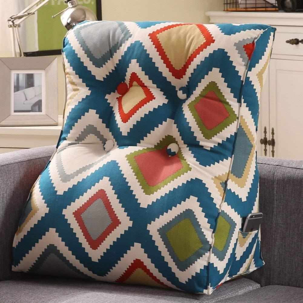 WYMNAME Sofa Triangular Wedge,Height Thicken Stereo Back Cushion Neck Back Cushion Detachable Bedside Cushion-D 60x55x30cm(24x22x12inch)