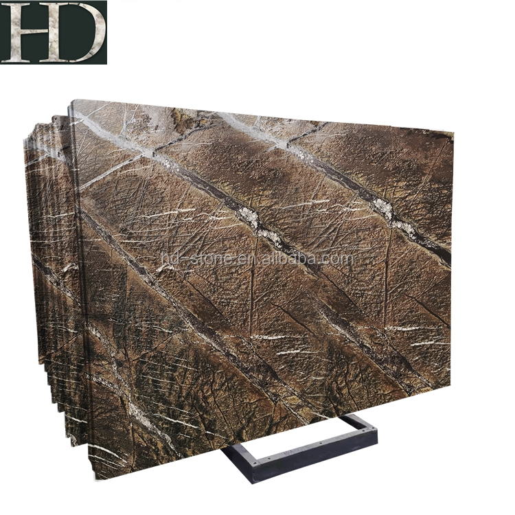 Rainforest Brown Marble Block Cut to Standard Size Slab, Antique Finish
