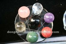 Platonic Crystal Gift Office Good Luck Style Seven Star Plate With Natural Colorful Quartz Crystal Balls Wholesale