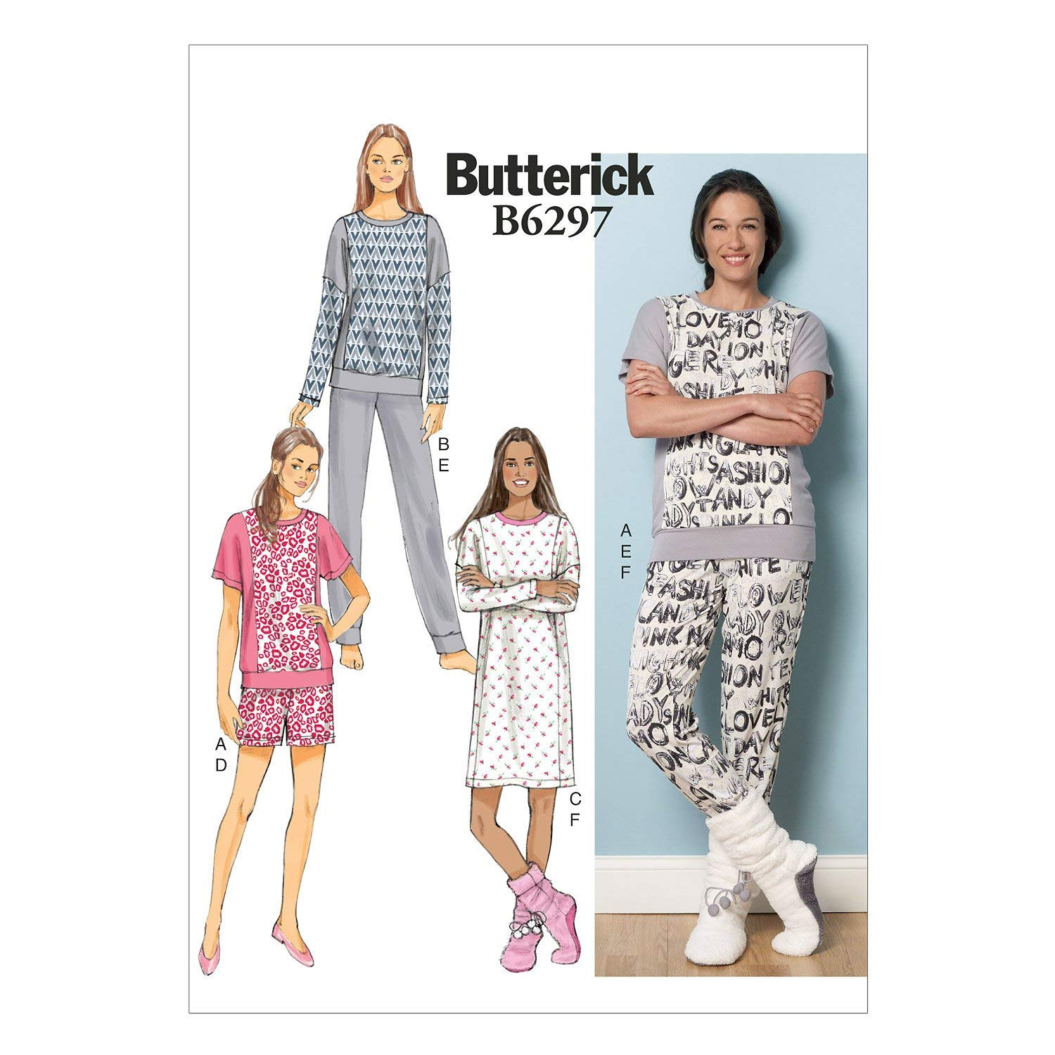 BUTTERICK PATTERNS B6297 Misses' Top, Dress, Shorts, Pants & Lounge Socks, Y (X-Small-Small-Medium)