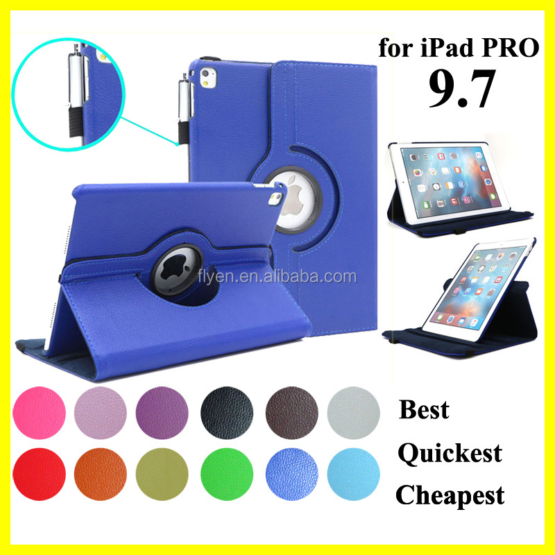 360 Leather Stand Case for <strong>iPad</strong> Pro 9.7 Case Good Price Tablet PC Covers for <strong>iPad</strong> Pro 9.7 Rotating Smart Case for iPads New