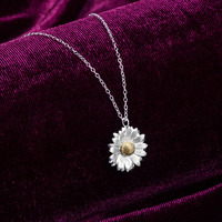 Unique Original Design 925 Sterling Silver Jewelry, Two Tone Flower Necklace 22K Yellow Gold Daisy Pendant