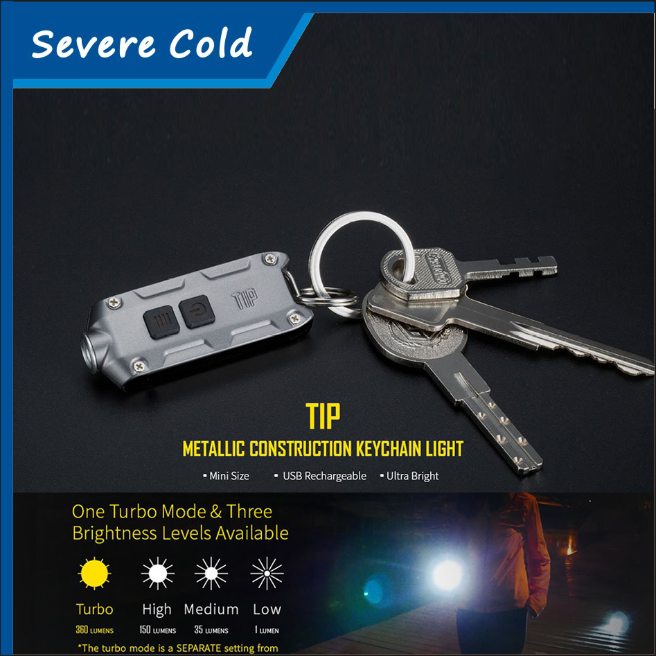 NITECORE TIP Mini USB Rechargeable Flash Light With Battery Key Button Lighting Lamp Torch Keychain LED Flashlight Light