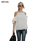 Ready to Ship Women Cotton Polyester Casual Cold Shoulder White Blouse