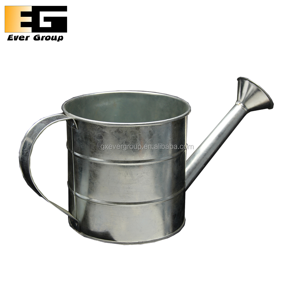 Rustic Galvanized Steel Watering Can Flower Pot